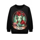 Toxic Red Hair Girl Print Black Sweatshirt