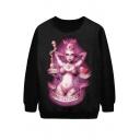 Sexy Pink Funk Lady Print Sweatshirt