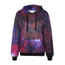 Purple Galaxy Print Hoodie