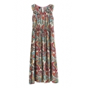 Vintage Totem Pattern Round Neck Gathered Waist Sundress