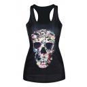 Rock&Roll Skull Print Black Tanks
