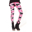 Black Background Stripe Print Fitted Pencil Leggings