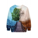 Unique Sea&Desert View Print Sweatshirt