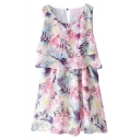 Pink Floral Ruffle Trim Sleeveless Round Neck Chiffon Dress