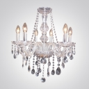 Chrome Finished Stunning Chandelier in Crystal Accent Style for Living Room