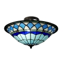 Craftsman Style Tiffany Mediterranean Three Light Flush Mount Ceiling Light