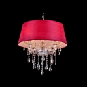 Dining Room Red Bell Shade Glittering Clear Crystal Frame and Droplets 19.6