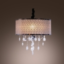 Majestic Black Drum Shade Contemporary Style Crystal Accented Chandelier