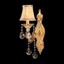 Fabulous Polished Gold Finish Wall Sconce Features Beautiful Phoenix Feather Crystal Drops and Beige Fabric Shade