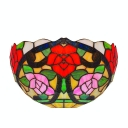 Colorful Flower Cluster Patterned Tiffany Glass Shade Single Light Wallwasher