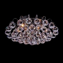 Stunning Chrome Finish and Crystal Cascade Completed Delightful Three Light Flush Mount Ceiling Light with Graceful Scrolls