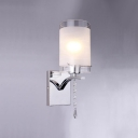 Elegant White Glass Shade and Clear Crystal Embellished Dazzling Single-light Wall Sconce
