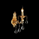 Luxury Shimmering Gold Single Light Wall Sconce Offers Exquisite Embelishment with Clear Crystal Droplets