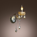 Elegant Single Light Wall Sconce with Delicate Plate Droplets and Sleek Curving Arm