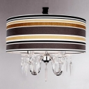 Multi-Colored Stripe Pattern Shade Shinning Crystal Accented 4-Light Chandelier