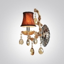 Luxury Single Light Wall Sconce Features Red Fabric Shades and Amber Crystal Drops