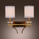 Elegant Wall Sconce Features White Fabric Hardback Shade and Luxury Gold Finish Details