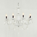 Soft and Chic White  All-Glass Arms Glittering Crystal Strands and Teardrops Chandelier
