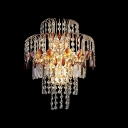 Sparkling Luxury Gold and Red Crystal Wall Sconce Has Steely Modern Feel