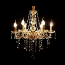 Bright Clear Crystal Strands Cascades 6 Candle Lights Classic Style Chandelier