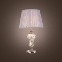 Give Your Home Contemporary Update with Lead Crystal Table Lamp topped with White Fabric Shade
