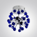 Striking Ceiling Fixture Bursts with Stylish Design Adorned with Distinctive Purple Crystals