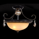 Vintage Black Finished Scrolls Crystal Droplets Scavo Glass 3-Light Semi-Flush Mount