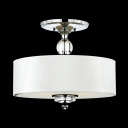 Crystal Finial and Globe Chrome Finished Semi Flush Ceiling Lights with Linen Shade