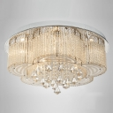 Romantic and Bold Crystal Accented and Round Chrome Finished Canopy Modern Flush Mount
