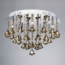 Warm and Gorgeous Amber Crystal Diamonds Suspended and Chrome Finished Flush Mount