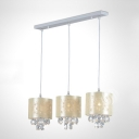 Elegant Three Light Multi-Light Pendant Features Delicate Beige Fabric Shades and Beautiful Hand-cut Crystal Drops