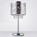Stunning Chrome Finish Drum Shade and Beautiful Strands of Clear Crystal Beads Add Charm to Contemporary Table Lamp