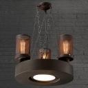 Antique 3-Light Hard Rust Finished Chimney Shape Industrial Chandelier