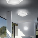 Diamond Flush Mount Ceiling Light With All White Fabric Shade