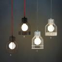 Bulb Style Mini Pendant in Black/White Cage