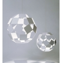 Ball Shape Metal Hollow-out Pendant Light in White