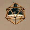 Wood Cage and Wrought Iron Bowl Inner Shaded Designer Pendant Light