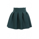 Plain Pleated Cotton Mini Skirt with Elastic Waist