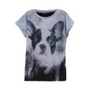 Round Neck Fashionable Doggy Print Blue T-Shirt