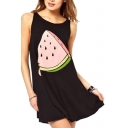 Cute Summer Watermelon Print Black Tank Dress