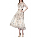 Ancient Greece Coins Print Midi A-line Cream Dress