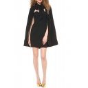Black Sweetheart Neck Mini Dress with Bow Tie Neck Cape Cover