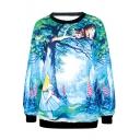 Fairy Tale Style Fields&Girl&Cat Print Sweatshirt