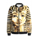 Egypt Architecture Print Gold Baseball Jacket
