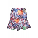 All Over Zombie Human Print A-line Skirt