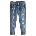 Mid Wash Distressed Boyfriend Straight Jeans with Zip Fly