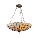 Tiffany Style Full-Sized/Large Pendant Light with Upward Bowl Peacock-Beaded Shade