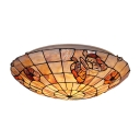 Romantic Butterfly Theme Two Lights 12 Inches Wide Tiffany Flush Mount Ceiling Light