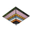 Innovative Two Lights Glass Shade with Artful Pattern Tiffany Flush Mount Ceiling Light