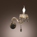 Contemporary Concise Wall Sconce Completed with Graceful Curving Crystal Arms and Clear Bobeche